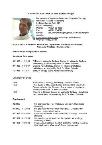 Curriculum vitae: Prof. Dr. Ralf Bartenschlager ... - CellNetworks