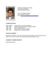 Dr. Volker Lohmann Department of Molecular Virology ... - HBIGS
