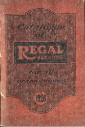 Catalogue of Regal Records 1926 - British Library - Sounds