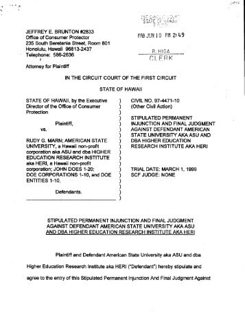 Stipulated Permanent Injunction and Final Judgment ... - Hawaii.gov
