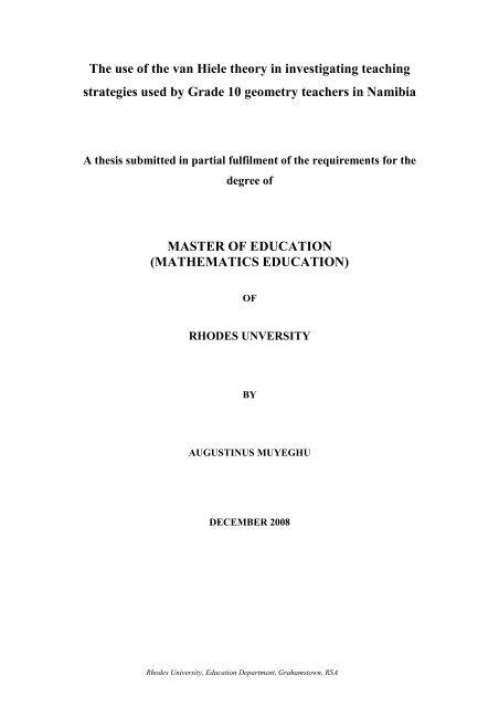 van hiele thesis