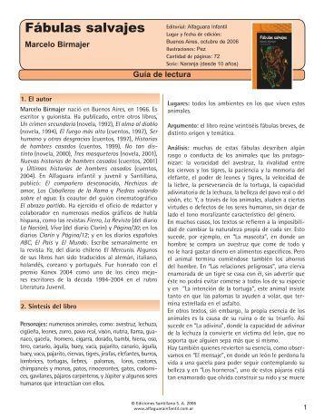 Guía Fábulas salvajes - Alfaguara Juvenil