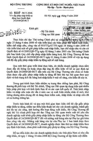 CV 8237/BCT-XNK - Cục Hải quan Đồng Nai
