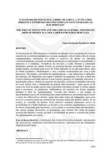 O MANDADO DE INJUNÇÃO E A HIDRA DE LERNA - publicaDireito