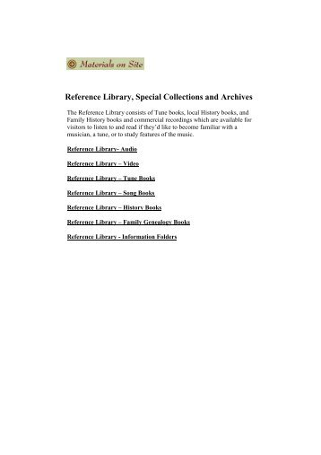 Materials on Site - the Celtic Music Interpretive Centre