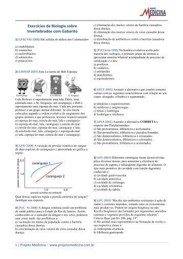 Exercícios de Biologia sobre Invertebrados com ... - Projeto Medicina