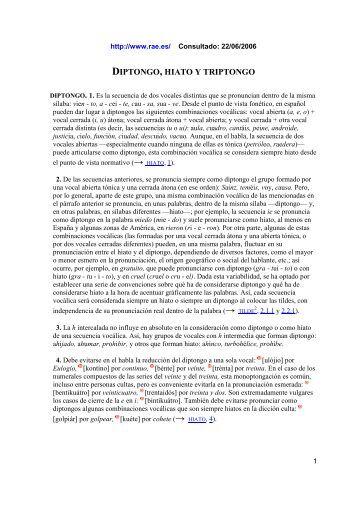 Diptongo, hiato y triptongo (RAE - 22-06-2006).pdf - Lenguaje Actual