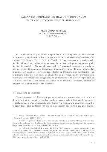 37. Variantes formales en hiatos y diptongos en textos notariales del ...
