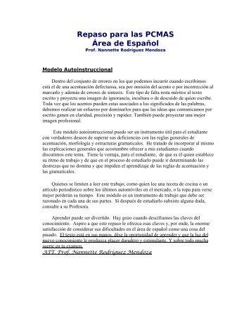Español 1 - Repaso de las PCMAS UMET