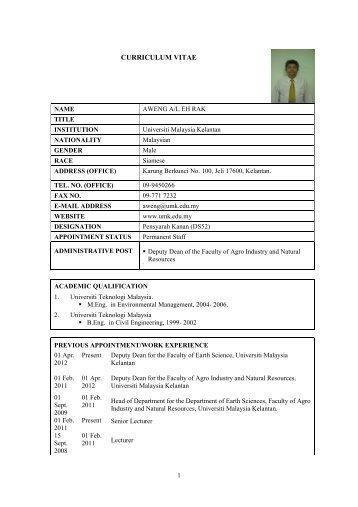 curriculum vitae e community universiti malaysia kelantan