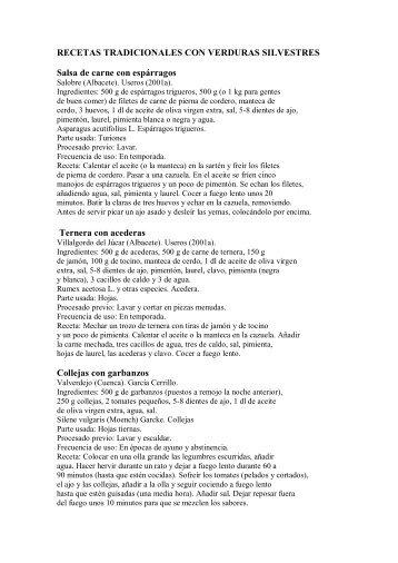 RECETAS TRADICIONALES CON VERDURAS SILVESTRES Salsa ...