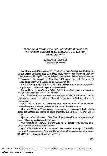 Actas X. AIH. El Bursario (traducción de las Heroídas de Ovidio por ...