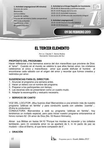 EL TERCER ELEMENTO - recursos escuela sabática