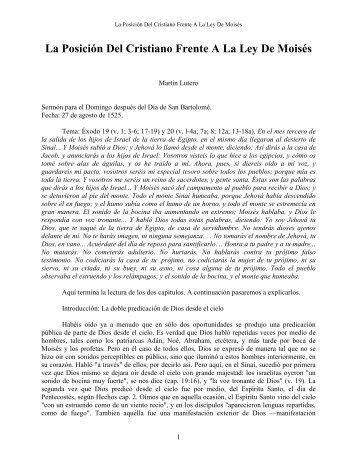 La Posición Del Cristiano Frente A La Ley De Moisés - Iglesia ...