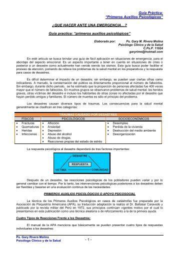 """Guía practica: """"primeros auxilios psicológicos"""