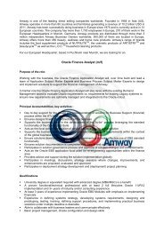 Homepage Oracle Finance Analyst - Amway