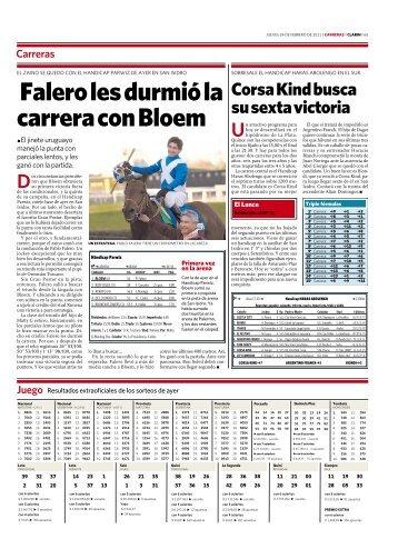 Falero les durmió la carrera con Bloem - Clarín