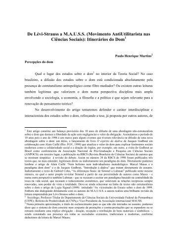 De Lvi-Strauss a Mauss - Jornal do MAUSS