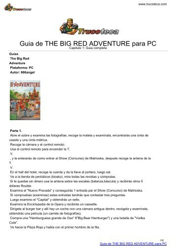 Guia de THE BIG RED ADVENTURE para PC - Trucoteca.com