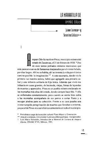 La narrativa de Amparo Dávila / Jaime Lorenzo y Severino Salazar