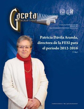 Patricia Dávila Aranda, directora de la FESI para el periodo 2012 ...