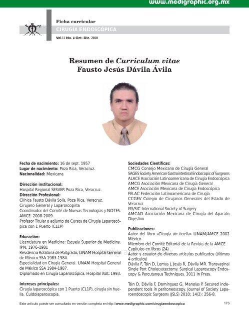 Resumen De Curriculum Vitae Fausto Jesus Davila Edigraphic Com