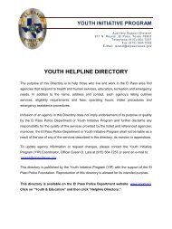Youth Helpline Directory - City of El Paso