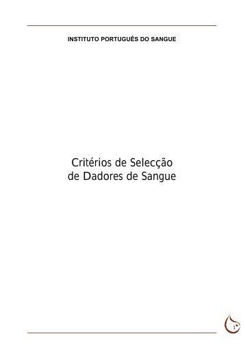 Critérios de Selecção de Dadores de Sangue - ILGA Portugal