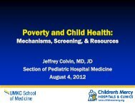 Poverty and Child Health: - Children's Mercy Hospital