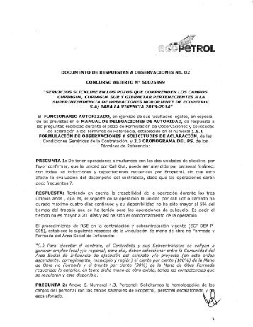 DOCUMENTO DE RESPUESTAS No 2 - Ecopetrol