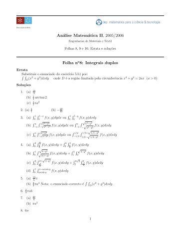 Análise Matemática II, 2005/2006 Folha no8: Integrais duplos