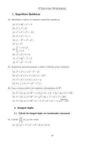 Folhas das aulas práticas - Cálculo Integral