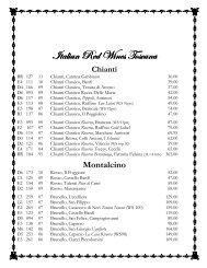 La Grotta Wine List
