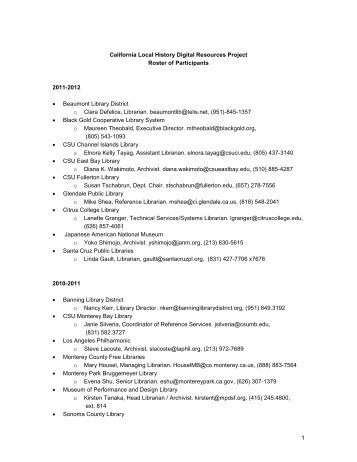 California Local History Digital Resources Project Roster of - Califa