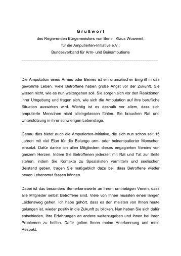 Pressemitteilung als PDF - Amputierten - Initiative eV / Gefäßkranke
