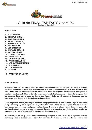 Guia de FINAL FANTASY 7 para PC - Trucoteca.com