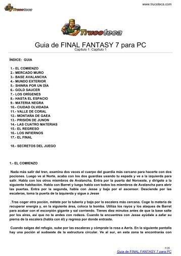 Guia de FINAL FANTASY 7 para PC - Trucoteca.com