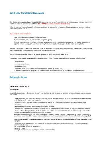 Call Center Constatare Daune Auto Asigurari > In tara - Asirom