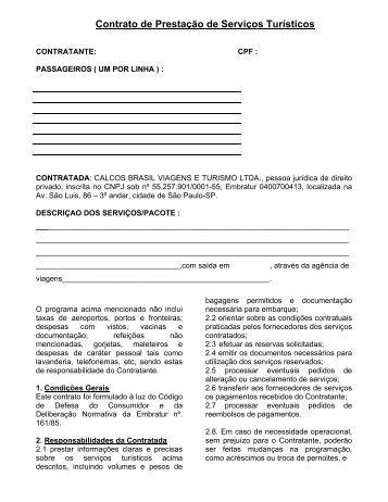 Contrato de Prestação de Serviços Turísticos - Calcos