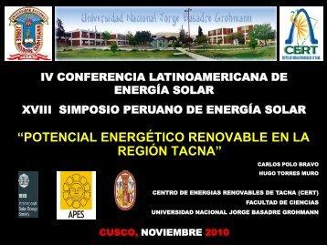región tacna - Asociación Peruana de Energía Solar y del Ambiente