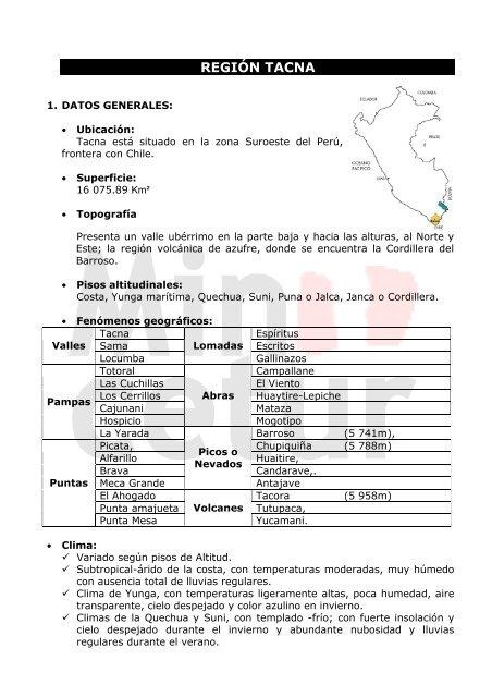 Region Tacna Ministerio De Comercio Exterior Y Turismo