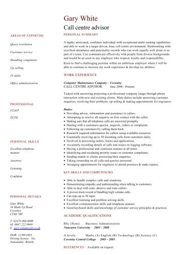 Chef cv template download dayjob call centre advisor cv template dayjob pronofoot35fo Gallery