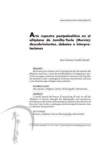 Arte rupestre postpaleolítico en el Altiplano de Jumilla-Yecla