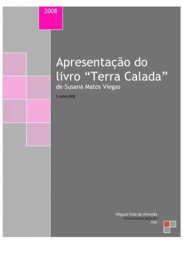 """Apresentação do livro """"Terra Calada"""" - Miguel Vale de Almeida"""