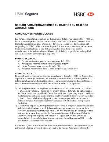 SEGURO PARA EXTRACCIONES EN CAJEROS EN ... - Hsbc