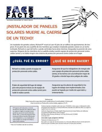 ¡Instalador de paneles solares muere al caerse de un techo! (PDF)