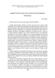 aspecte sociale ale cultului mithriac în dacia - Muzeul Banatului