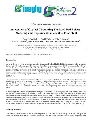 Modeling and Experiments in a 5 MW Pilot Plant - IEAGHG