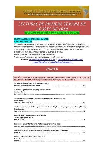 lecturas de primera semana de agosto de 2010 - Insumisos