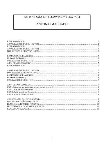 ANTOLOGÍA DE CAMPOS DE CASTILLA ANTONIO MACHADO